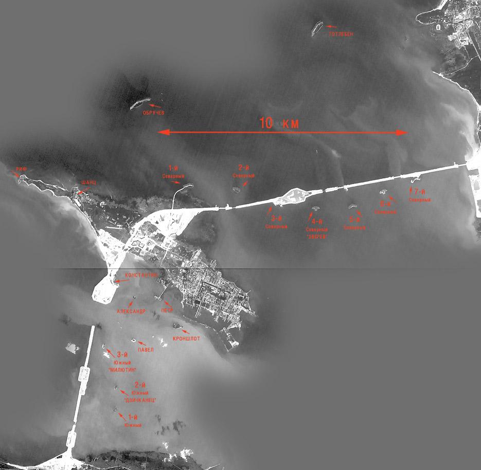 Схема расположения фортов Кронштадта.