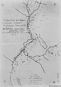 Выборгский укрепрайон. Финская разведсхема опорного пункта Нявери (д.Конту)