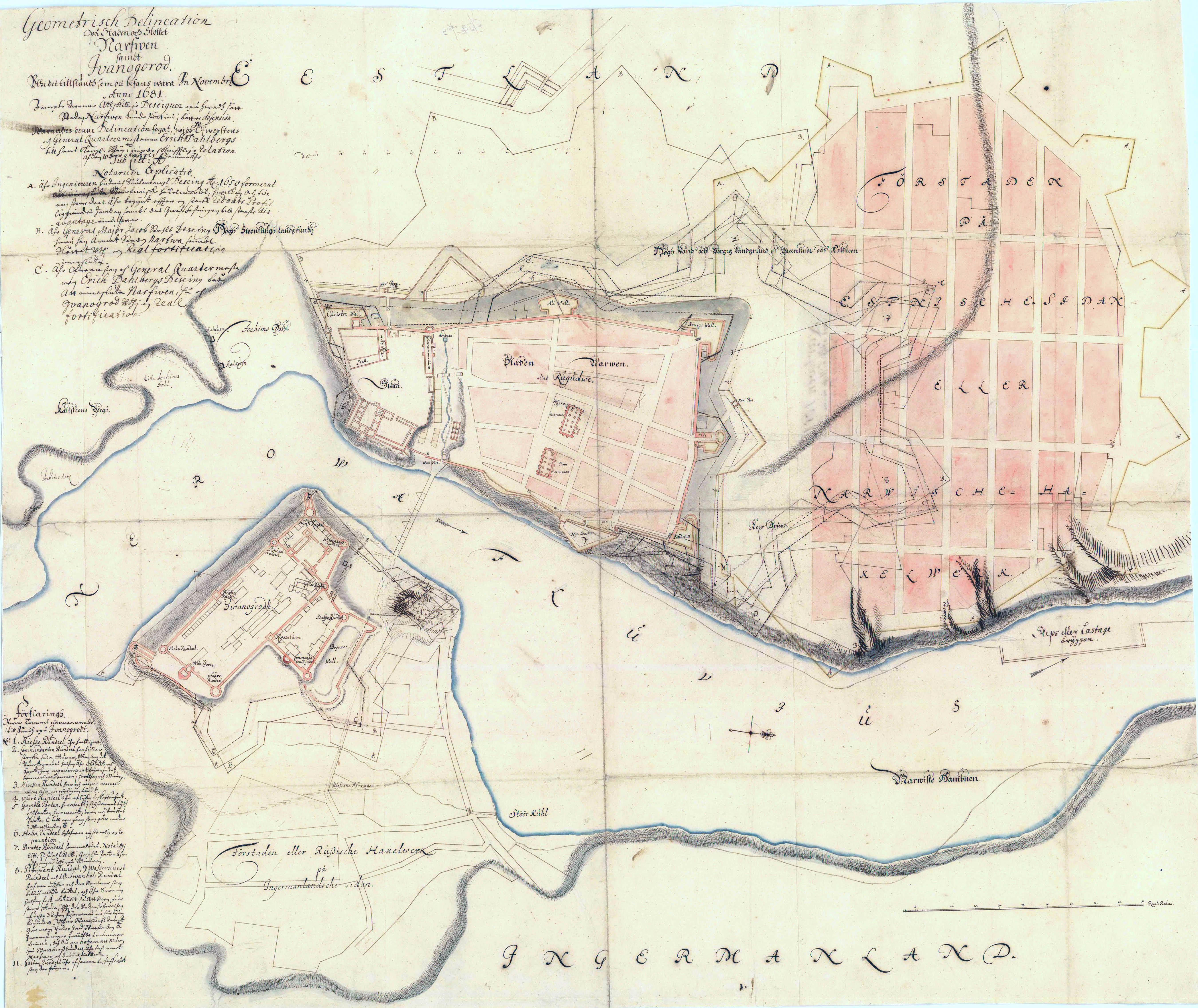 План города и замка Нарвы и Ивангорода. 1681 год