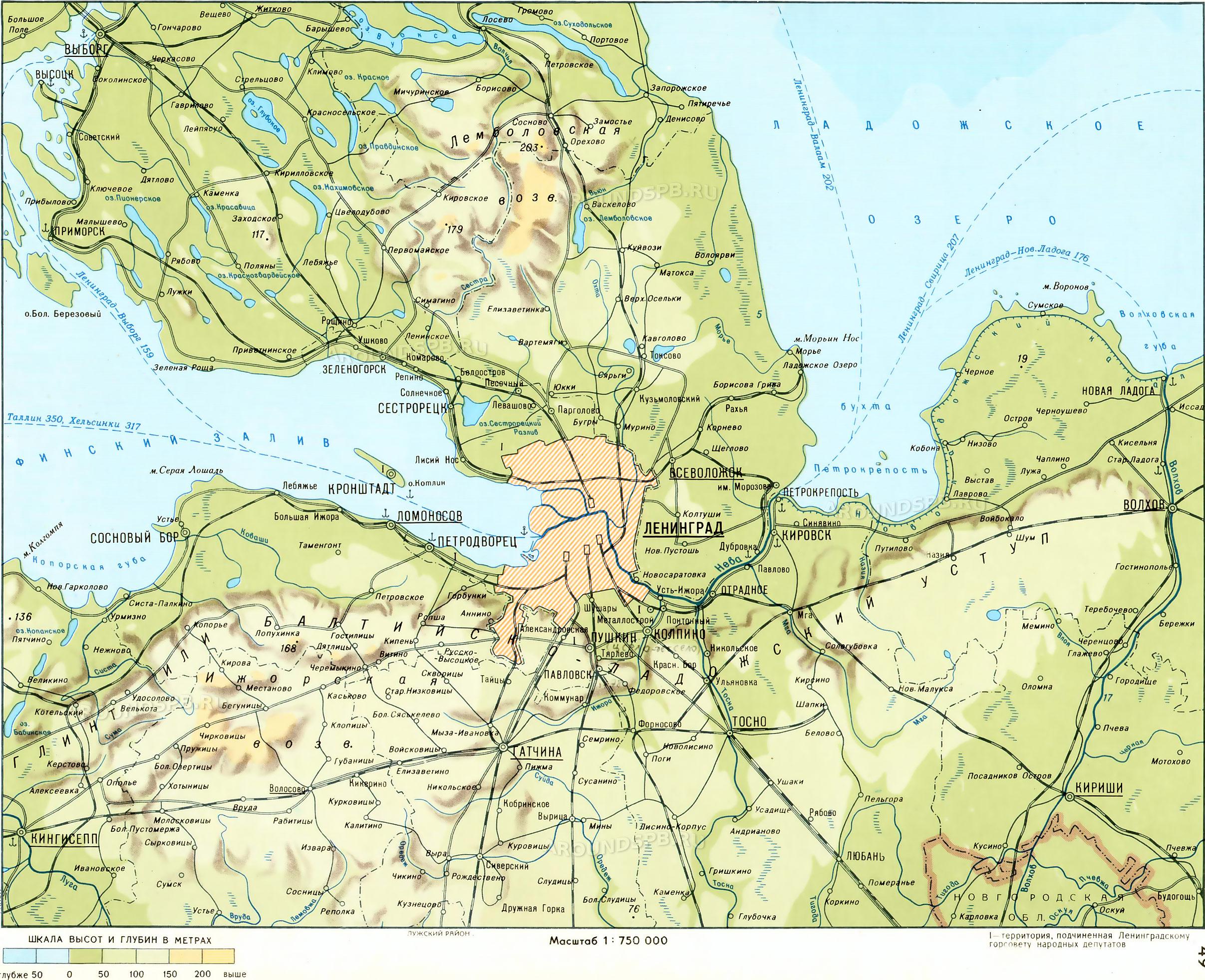 Окрестности Петербурга - Карты местности: Санкт-Петербург ...: http://www.aroundspb.ru/karty/104/lo_1977_atlas.html
